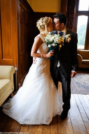bride and groom in drawing room