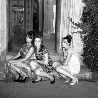 wedding party girls taking a breather